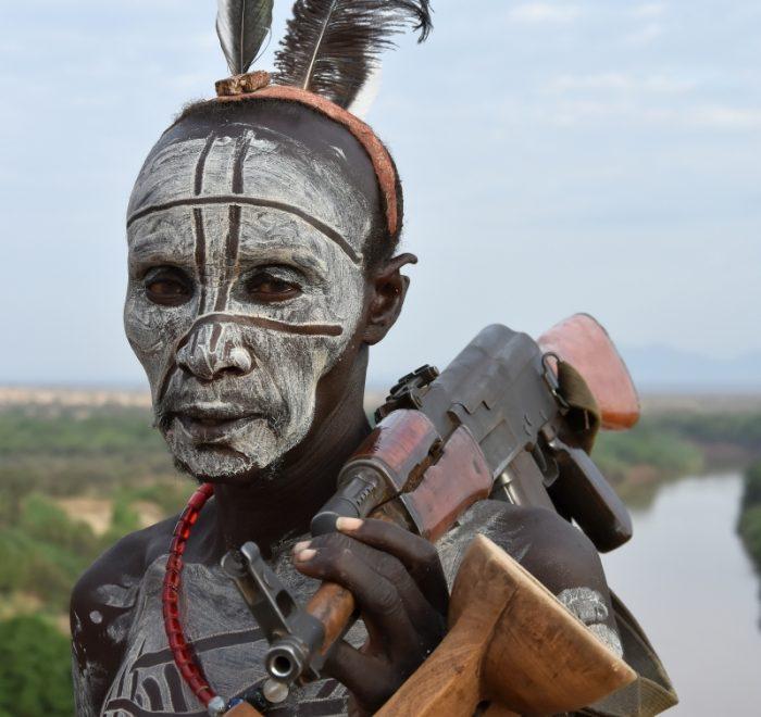 Ethiopia, a man from Karo tribe, EastAfricaTourOperator.net